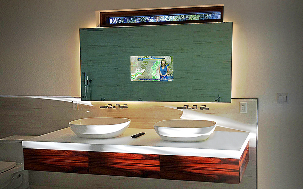 Television in bathroom best home design 2018 for Mirror for lg tv